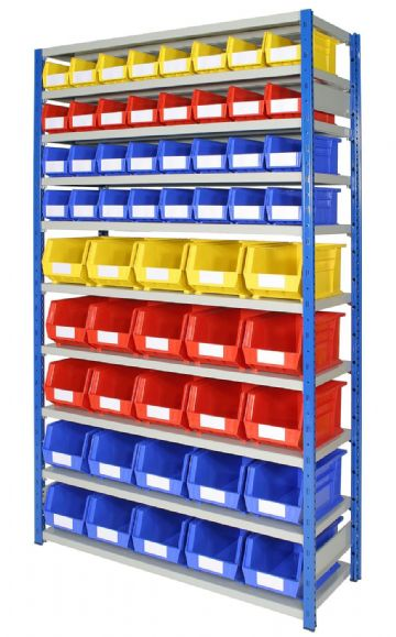 Expo 4 Bay with Bins - Depth 400mm - 10 Shelves